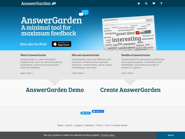 Screenshot von answergarden.ch