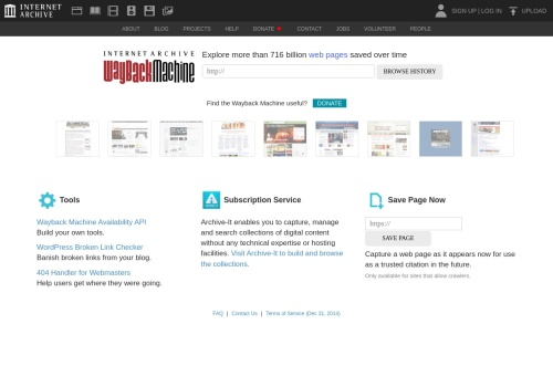Screenshot of archive.org