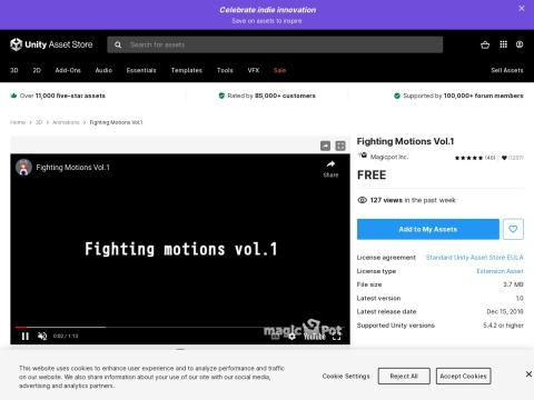 https://assetstore.unity.com/packages/3d/animations/fighting-motions-vol-1-76699