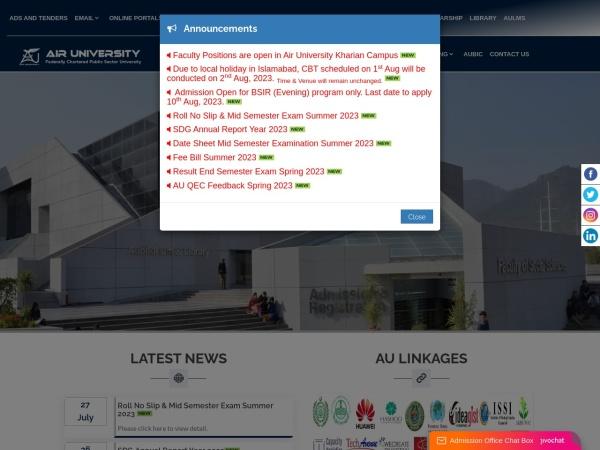 Screenshot of au.edu.pk