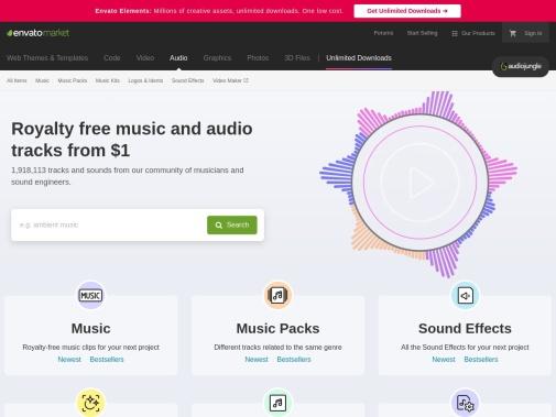 Screenshot of audiojungle.net