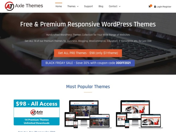 Axle  Themes homepage
