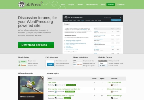 Screenshot of bbpress.org