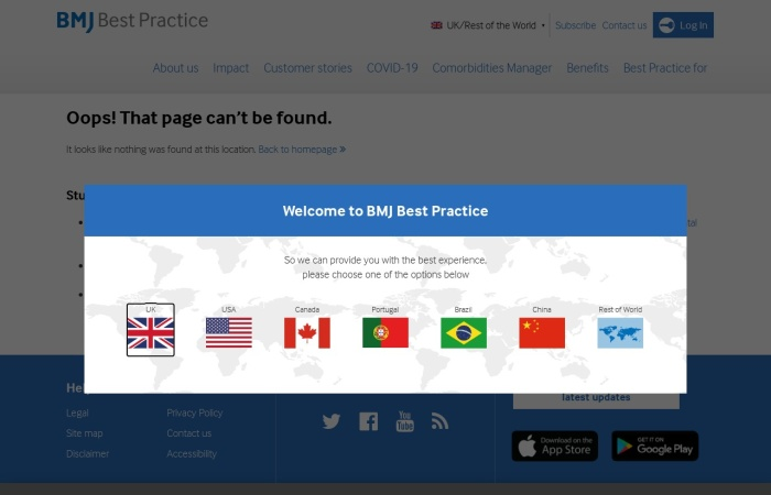 Screenshot of bestpractice.bmj.com