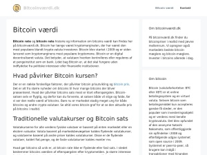 Screenshot of bitcoinværdi.dk