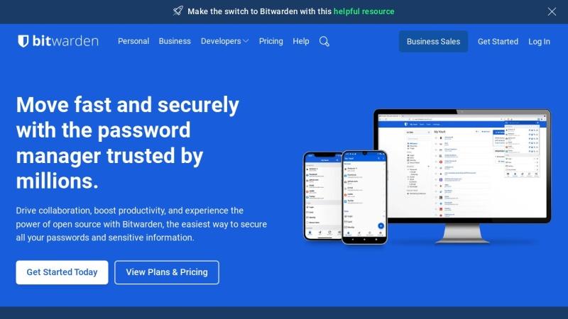 Screenshot von bitwarden.com