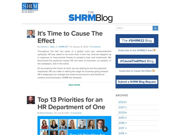 The SHRM Blog Screenshot