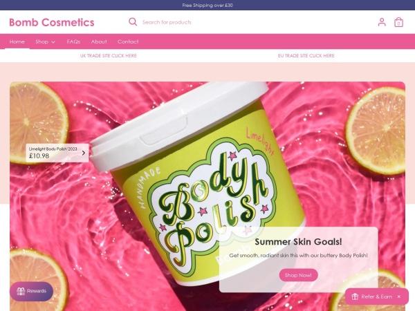 Screenshot of bombcosmetics.co.uk