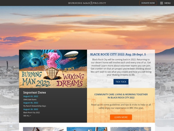 Screenshot of burningman.org