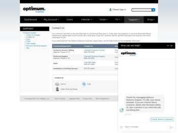 Optimum Business - Customer Support - Contact Us