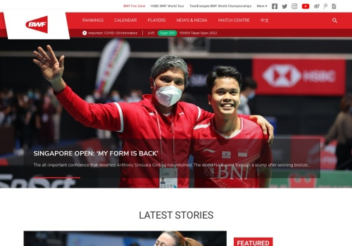Screenshot of bwfbadminton.com