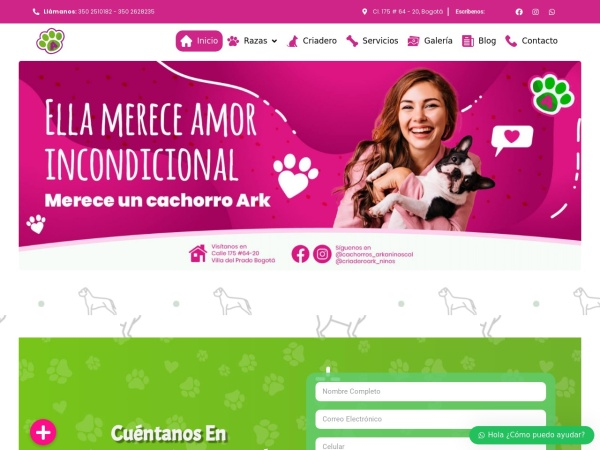 Captura de pantalla de cachorrosarkaninos.com
