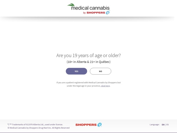 Screenshot of cannabis.shoppersdrugmart.ca