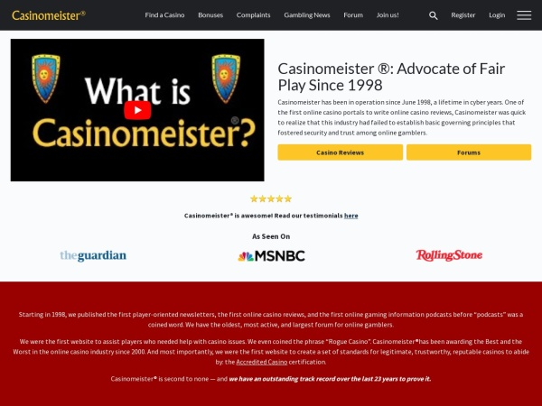 Screenshot of casinomeister.com