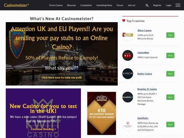Screenshot of casinomeister.com
