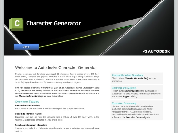 Screenshot of charactergenerator.autodesk.com
