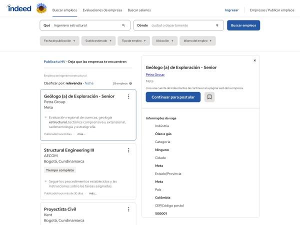 Captura de pantalla de co.indeed.com