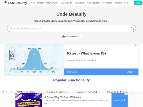 Screenshot of codebeautify.org