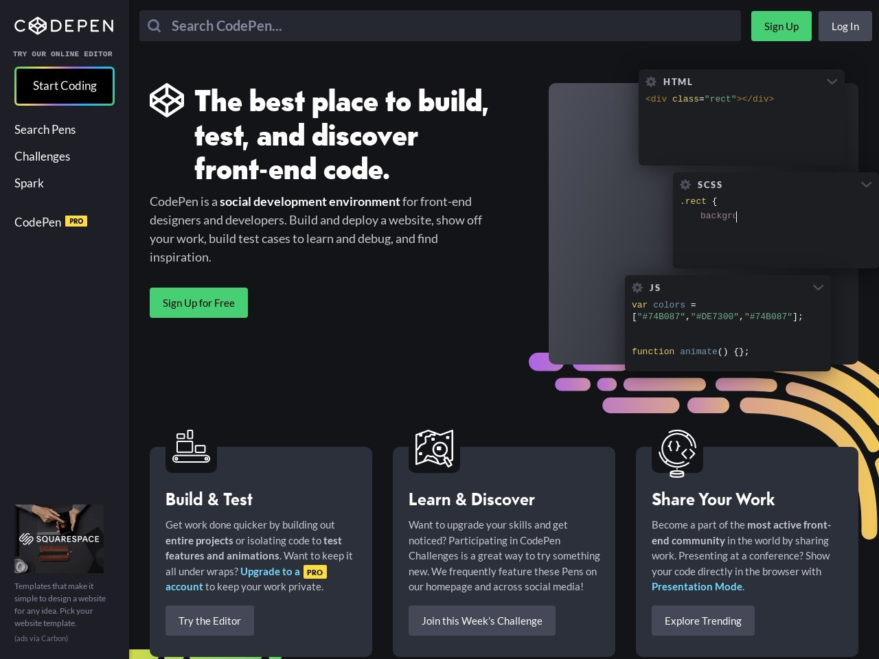 Screenshot of codepen.io