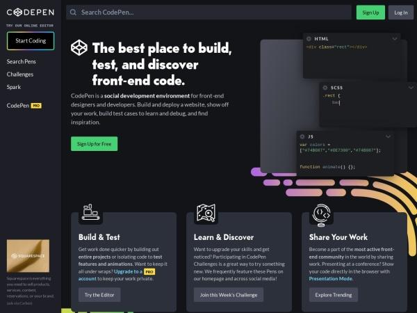 Screenshot of codepen.io