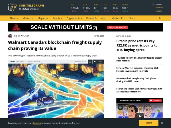Screenshot of cointelegraph.com