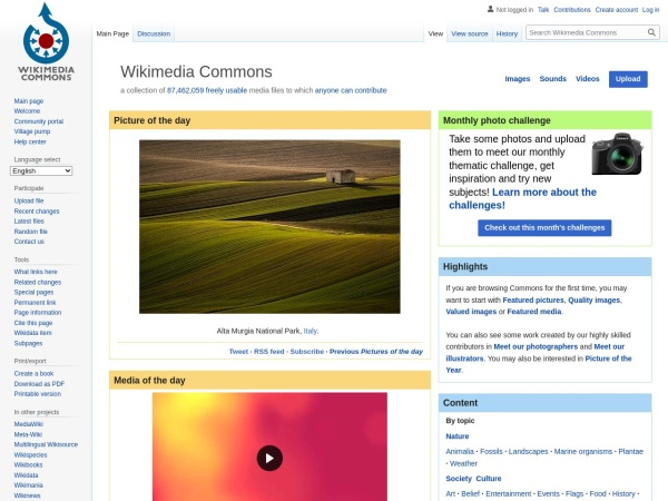 Screenshot of commons.wikimedia.org