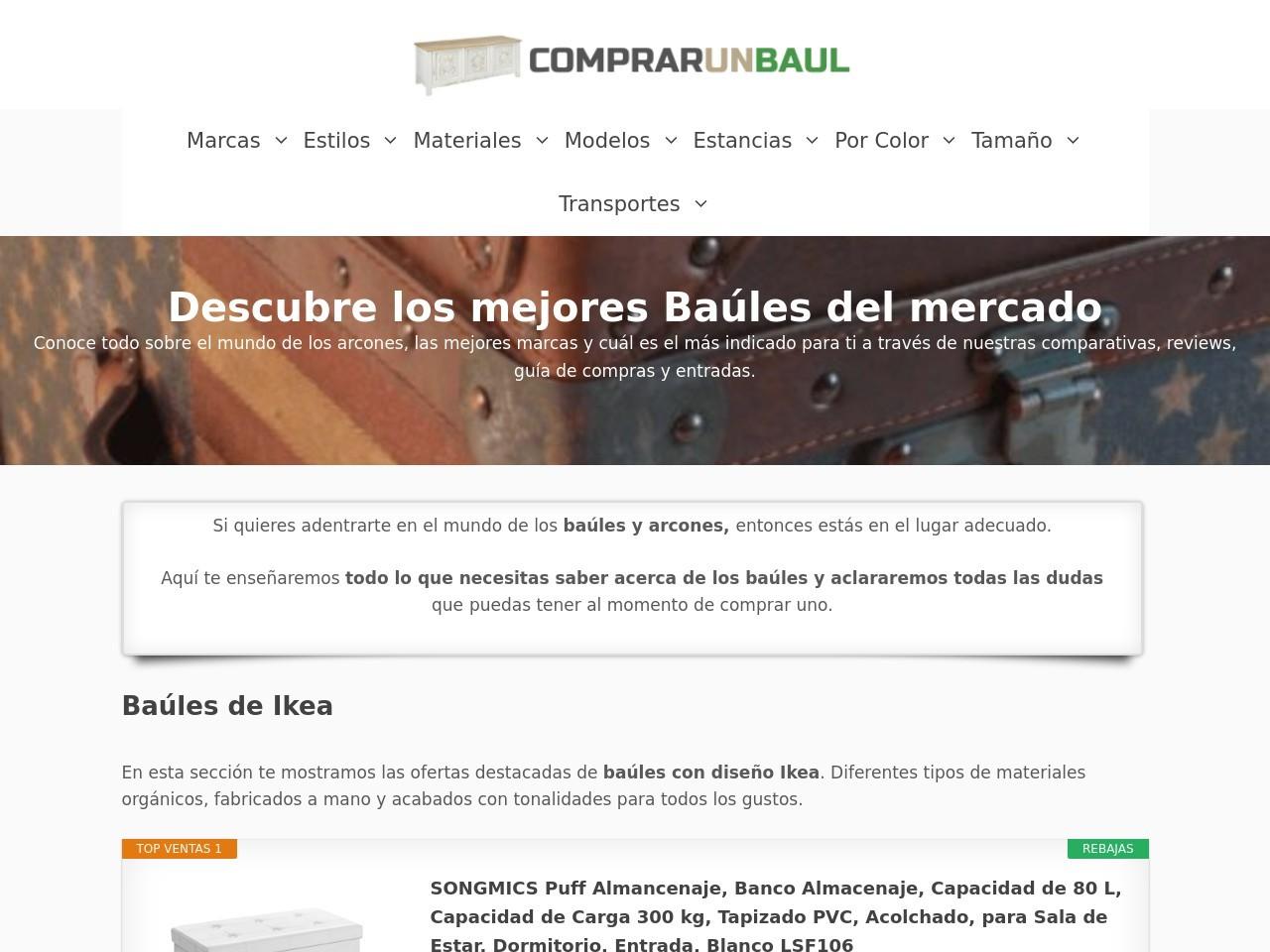 Captura de pantalla de comprarunbaul.com