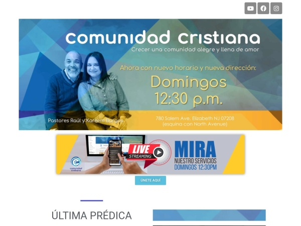 Screenshot of comunidadcristiananj.org