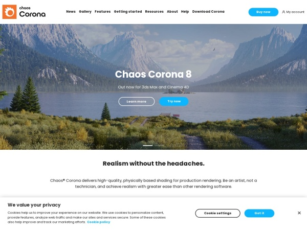 Screenshot of corona-renderer.com