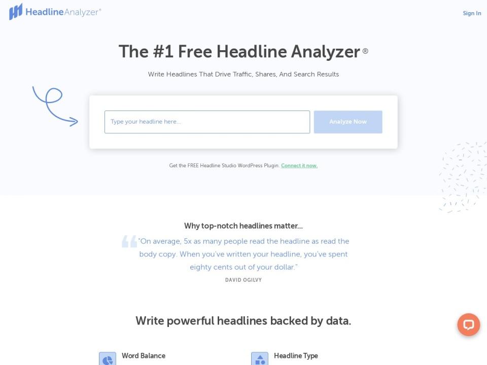 Headline Analyzer site Screenshot image