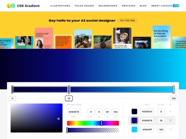 Screenshot of cssgradient.io