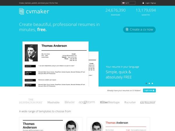 Screenshot of cvmkr.com