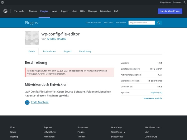 Screenshot von de.wordpress.org