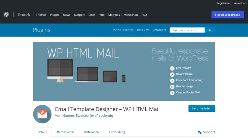 Screenshot von de.wordpress.org