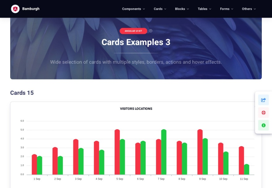 Bamburgh Angular UI Kit with NGX Bootstrap PRO - Cards with charts