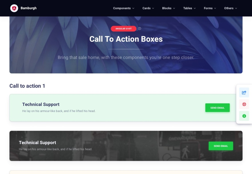Bamburgh Angular UI Kit with NGX Bootstrap PRO - Call to action boxes