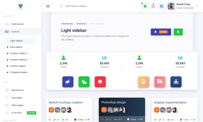 Bamburgh Vue.js Admin Dashboard PRO - Light Sidebar Layout