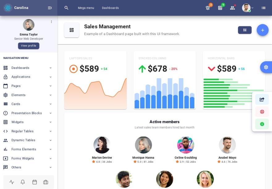 Carolina React Admin Dashboard with Material-UI PRO - Sales Management