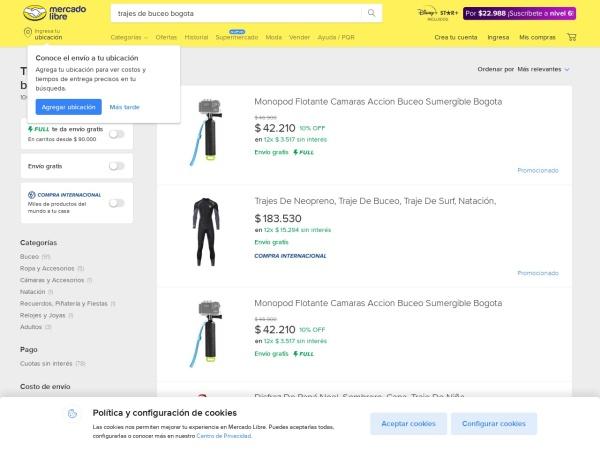 Captura de pantalla de deportes.mercadolibre.com.co
