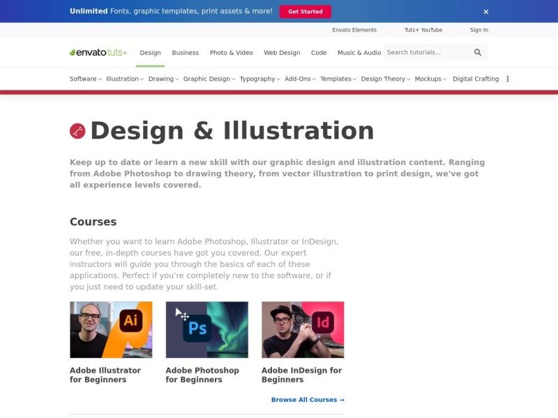 Screenshot of design.tutsplus.com