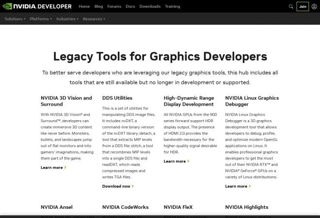 Screenshot of developer.nvidia.com
