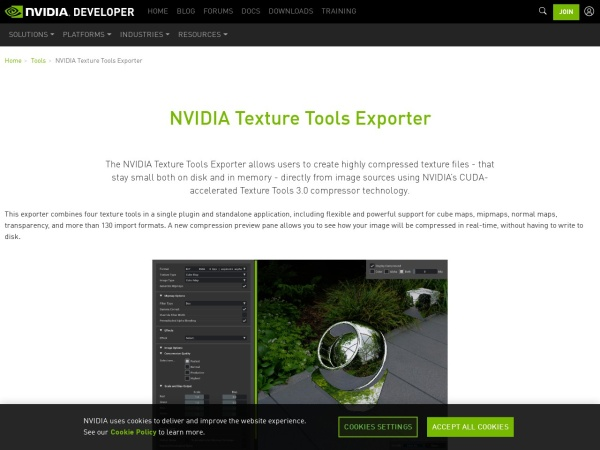 Screenshot of developer.nvidia.com