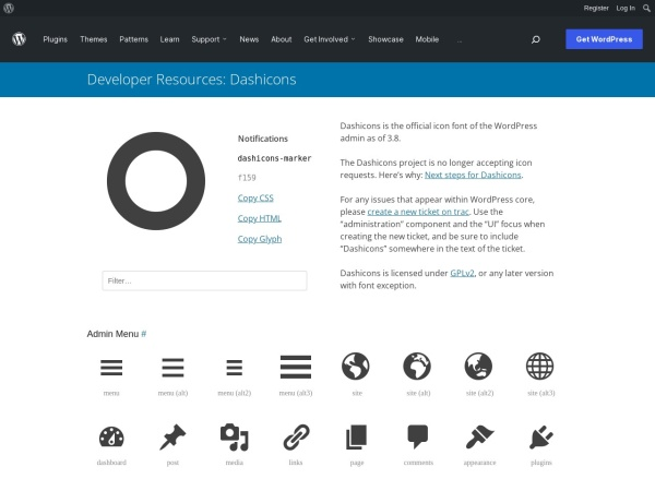 https://developer.wordpress.org/resource/dashicons/