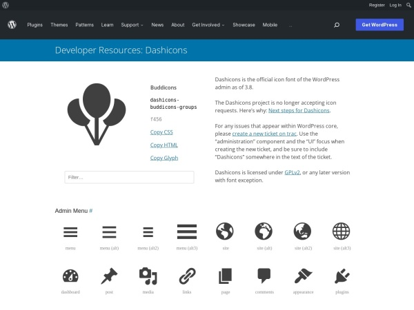Screenshot of developer.wordpress.org