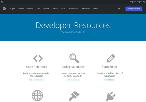 Screenshot of developer.wordpress.org