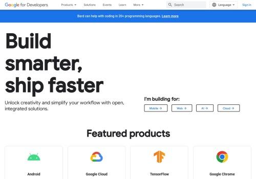 Screenshot of developers.google.com