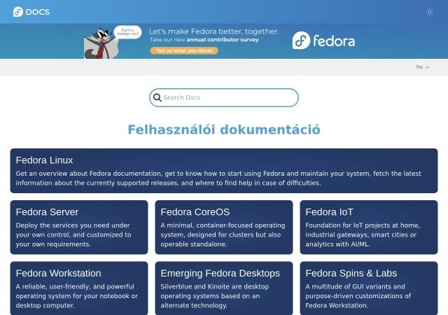 Screenshot of docs.fedoraproject.org