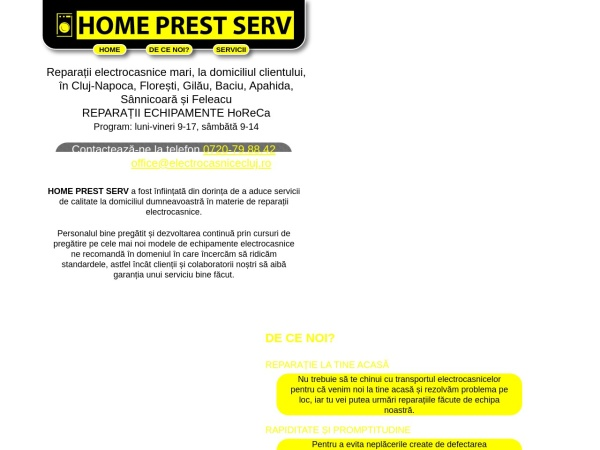 Screenshot of electrocasnicecluj.ro