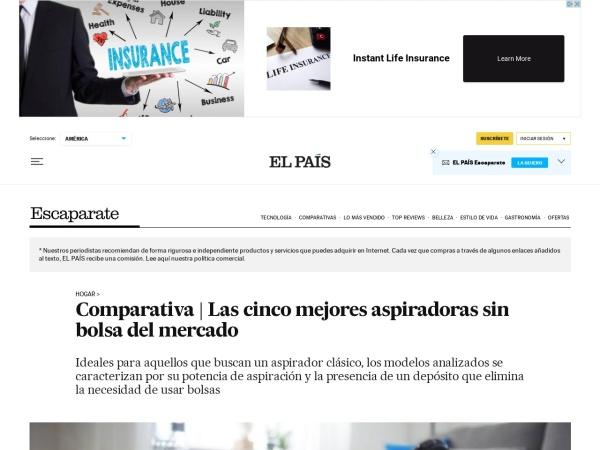 Captura de pantalla de elpais.com