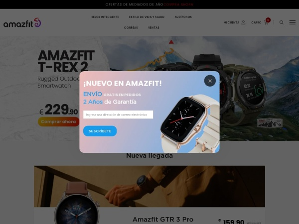 Captura de pantalla de es.amazfit.com